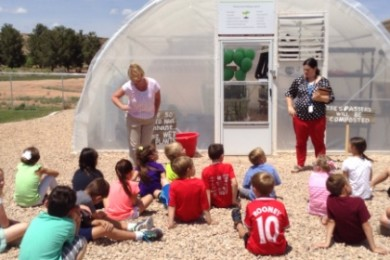 L-R Staff Developer, Tiffany Porter and Mrs. Rindlisbacher speak to first graders at Crimson View Elementary about the new greenhouse, St. George, Utah, May 13, 2015 | Photo by Hollie Reina, St. George News