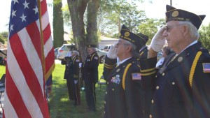 Standing at attention for the National Anthem, Veterans Park, Washington City, Utah, May 25, 2015 | Photo by Mori Kessler, St. George News