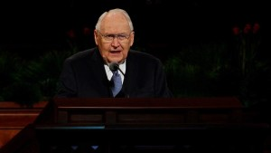 Elder L. Tom Perry of the Quorum of the Twelve Apostles addresses the audience at the Saturday morning session of general conference, Salt Lake City, Utah, April 4, 2015   Photo courtesy of The Church of Jesus Christ of Latter-day Saints, St. George News