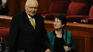 Elder L. Tom Perry leaves General Conference with his wife, Barbara Dayton Perry, Salt Lake City, Utah, October 2010   Photo courtesy of The Church of Jesus Christ of Latter-day Saints, St. George News