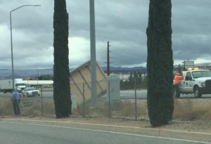 sign struck by car veering off I-15, St. George, Utah, May 9, 2015 | Photo courtesy of Caitlin Clementson, St. George News