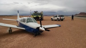 Piper Arrow aircraft that crashed after experiencing mechanical failure while landing, St. George Municipal Airport, St. George, Utah, May 22, 2015 | Photo courtesy of Brad Kitchen, City of St. George, St. George News