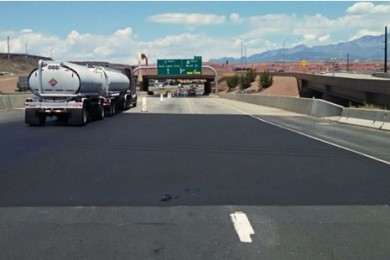 Utah Department of Transportation places a pavement preservation treatment on highway surface of Interstate 15 near Exit 5, St. George, Utah, May 28, 2015 | Photo courtesy of Todd Abbot, St. George News