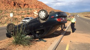 Aftermath of a rollover on Red Hills Parkway, St. George, Utah, May 15, 2015 | Photo by Mori Kessler, St. George News