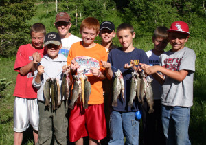 Scouts showing the trout they have caught, location and date unspecified | Photo courtesy of Division of Wildlife Resources, St. George News