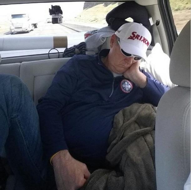 "Allen Wakefield catches a nap during the ""Rounds Fore Warriors"" event this week. 