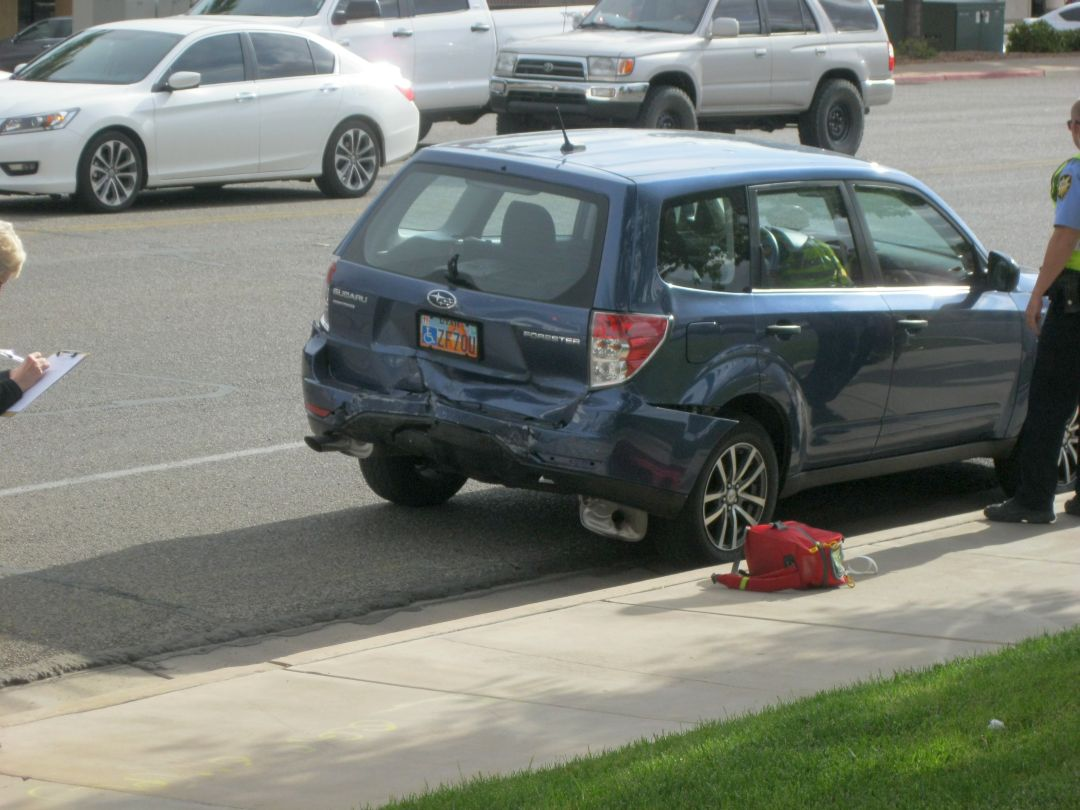 One man was taken to the hospital following a rear-end collision on Foremaster Drive at River Road, St. George, Utah, May 7, 2015 | Photo by Ric Wayman, St. George News