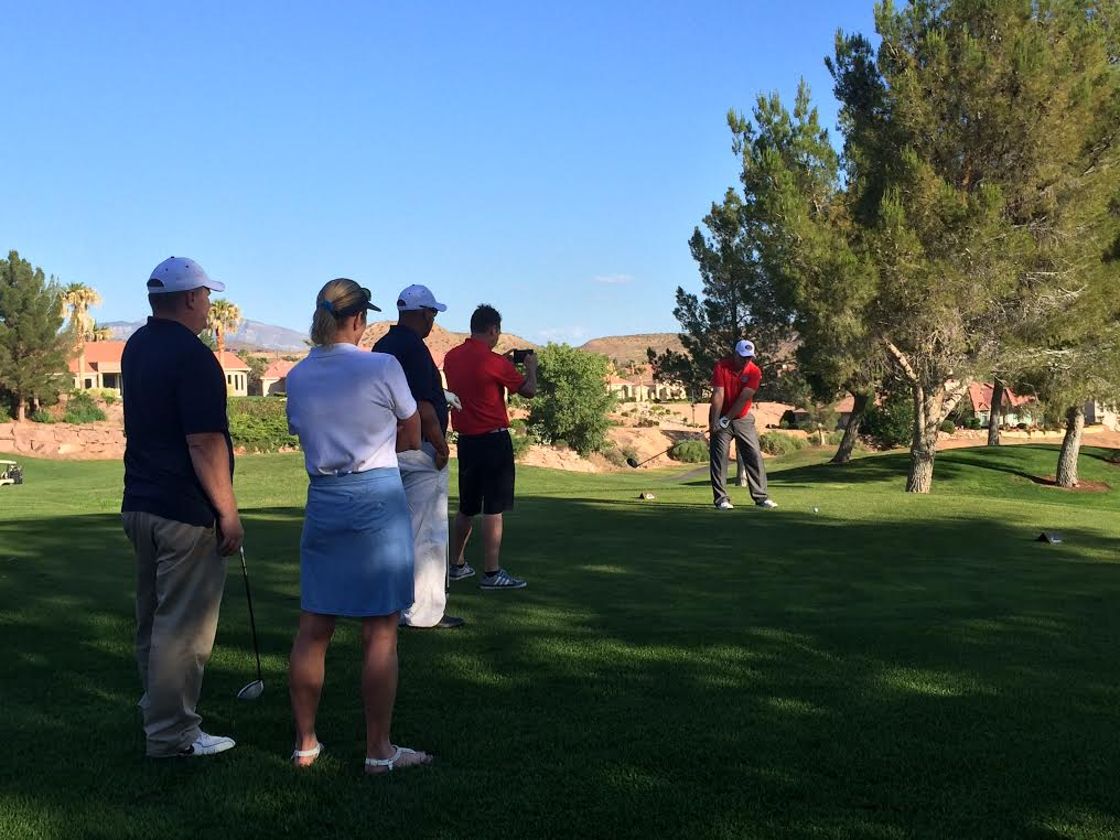"""Teeing off at Sunbrook Golf Course, """"Rounds Fore Warriors"""" charity event, St. George, Utah, May 28, 2015 
