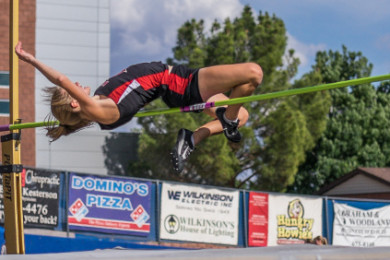Hurricane's Teslin Bettridge, Region 9 track and field championships at Dixie High, St. George, Utah,  May 6, 2015 | Photo by Dave Amodt, St. George News