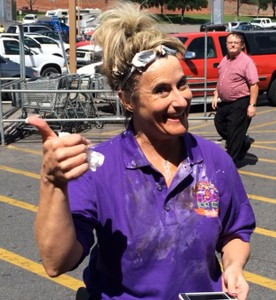 Store Manager Tiffany Sorensen after her turn getting hit by a pie to raise money for Primary Children's Hospital at Smith's Market, St. George, Utah, May 16, 2015  | Photo by Ric Wayman, St. George News