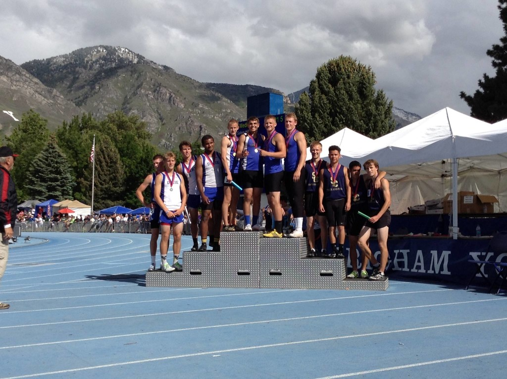 The boys medley podium at the state track meet, with Stansbury in first, Dixie in second and Snow Canyon in third, Provo, Utah, May 15, 2015 | Photo by AJ Griffin, St. George News