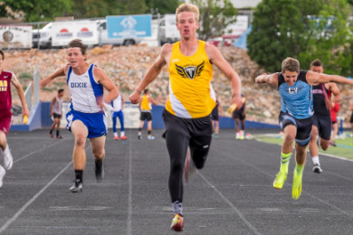 Desert Hills won the 4x100 relay, Region 9 track and field championships at Dixie High, St. George, Utah,  May 7, 2015 | Photo by Dave Amodt, St. George News