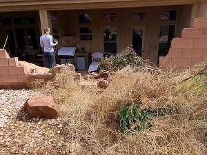A 70-year-old man crashes into a block wall, Washington, Utah, May 5, 2015 | Photo by Kimberly Scott, St. George News