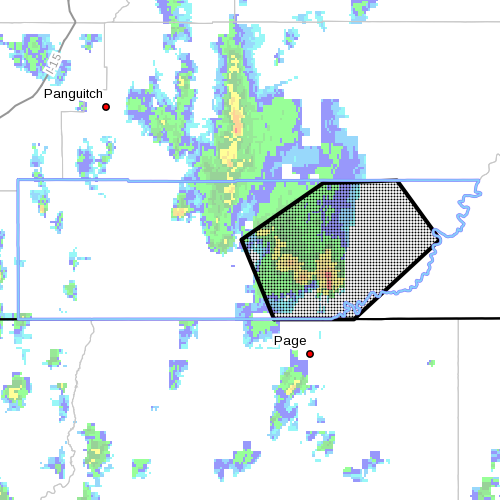 Dots denote areas subject to flash flood warning at 4:05 p.m., Garfield, Kane counties, Utah, May 14, 2015 | Image courtesy of National Weather Service, St. George News | Click on image to enlarge