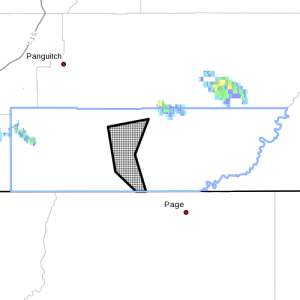Dots denote areas subject to flash flood warning at 6:20 p.m., Kane County, Utah, May 25, 2015   Image courtesy of National Weather Service, St. George News   Click on image to enlarge
