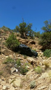 Responders removing vehicle from bottom of ravine near Toquerville Falls, Utah, June 8, 2015 | Photo submitted, St. George News