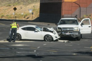 A head on crash at Snow Canyon Parkway resulted in no injuries Thursday morning, St. George, Utah, June 25, 2015 | Photo by Ric Wayman, St. George News