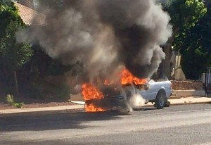 A fire destroyed a truck on Tabernacle Street, St. George, Utah, June 11, 2015   Photo by Ric Wayman, St. George News
