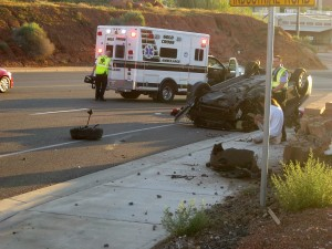 No injuries were reported in an early morning accident on Red Hills Parkway, St. George, Utah, June 13, 2015 | Photo by Ric Wayman, St. George News