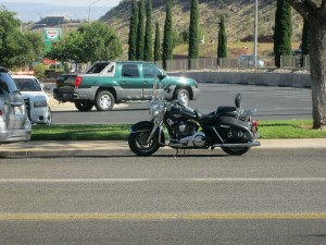 A motorcycle received minor damage in an accident on North Bluff Street, St. George, Utah, June 18, 2015 | Photo by Ric Wayman, St. George News