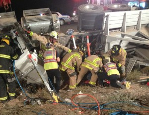Two people were injured as a semitrailer rolled just north of Mesquite, Nevada, Mohave County, Arizona, June 12, 2015 | Photo courtesy of Arizona Department of Public Safety, St. George News