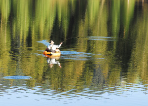 Fishing from a float tube is a great way to enjoy solitude and catch fish, location unspecified, June 4, 2015   Photo courtesy of DWR, St. George News