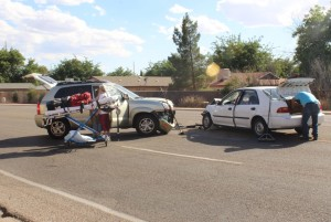 A two-car collision caused traffic to be rerouted on Dixie Downs Drive, St. George, Utah, June 7, 2015 | Photo by Jessica Tempfer, St. George News