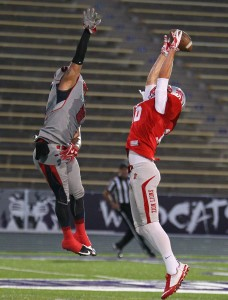 Dalton Groskreutz leaps for a pass, Zion Lions vs. Wasatch Revolution, Ogden, Utah, June 27 2015, | Photo by Robert Hoppie, ASPpix.com, St. George News