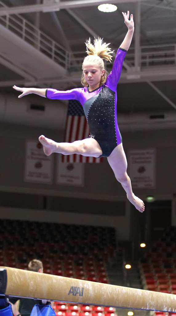 Madi Giles on the balance beam, Utah Summer Games, Gymnastics, Cedar City, Utah, June 13, 2015, | Photo by Robert Hoppie, ASPpix.com, St. George News