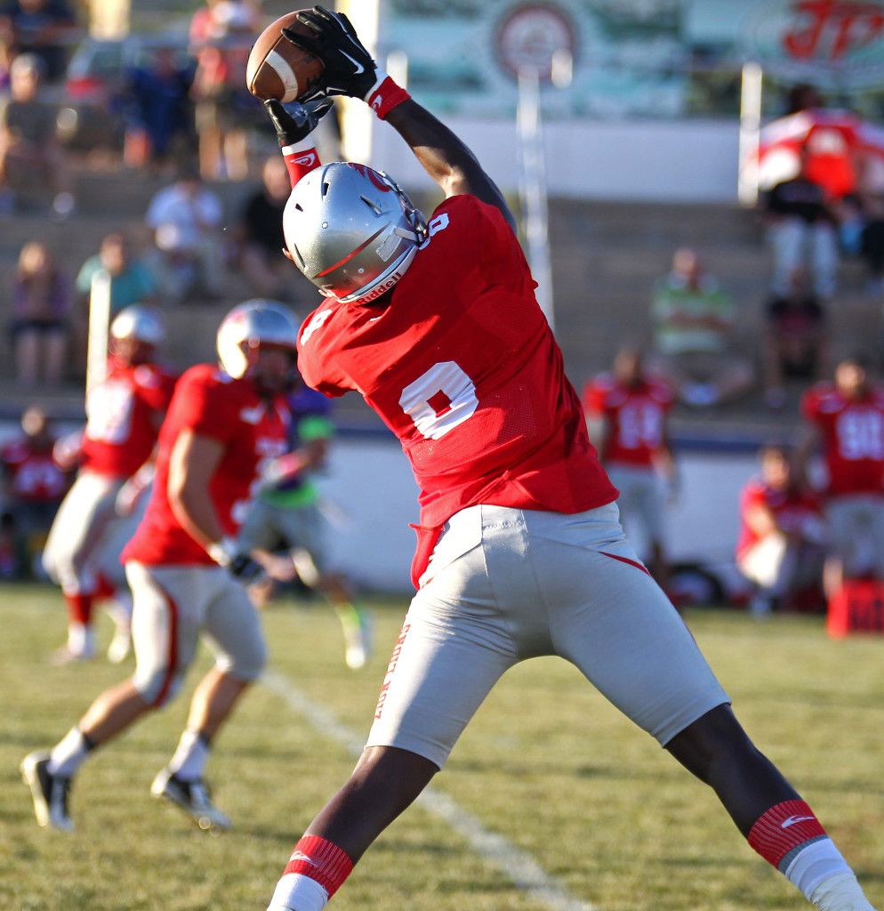 Chad Ford (8) makes a leaping catch and heads for the end zone to score a touchdown for the Lions, Zion Lions vs. Brigham Sting, Foorball, St. George, Utah, June 13, 2015,   Photo by Robert Hoppie, ASPpix.com, St. George News