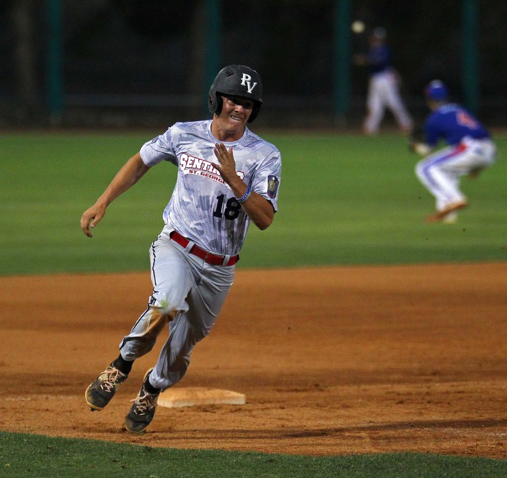 Hunter Hansen rounds third base and scores the Sentinels first run of the game, St. George Sentinels vs. Minnesota Excelsior, Baseball, St. George, Utah, June 25, 2015,   Photo by Robert Hoppie, ASPpix.com, St. George News