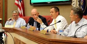 (Left-right) Mayor Ken Neilson, Councilmen Thad Seegmiller, Kress Staheli, and Ron Truman, Washington City, Utah, June 10, 2015   Photo by Mori Kessler, St. George News