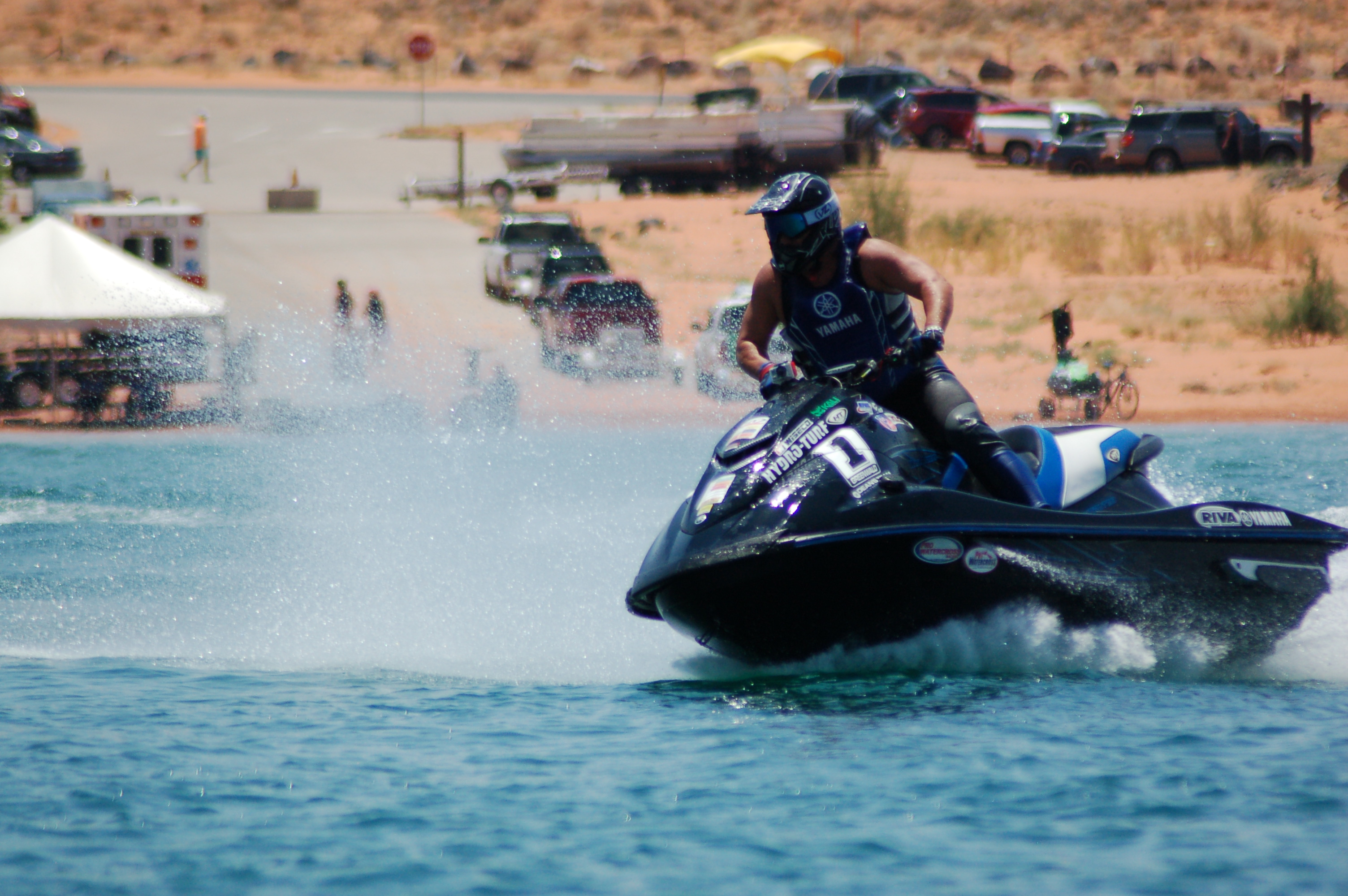 The Pro Watercross Tour splashes across Sand Hollow Reservoir in this photo from 2015, Sand Hollow State Park, Utah, June 27, 2015 | Photo by Hollie Reina, St. George News