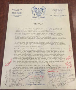 Letter naming Dixie baseball field after Coach Don Lay, signed by then school district superintendent Steven Peterson and others, photo undated | Image courtesy Merry Johnson via Ilene Hacker, St. George News | Click on image to enlarge