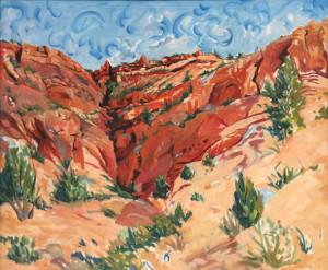 "Painting, ""Squaw Canyon"" by Rebecca Gaver on display at the Sears Art Museum Gallery in the Eccles Grand Foyer as part of the exhibit ""One X One"" 