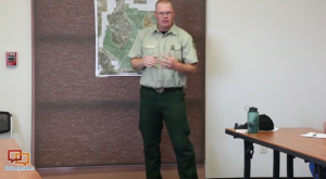 Paul Hancock, district ranger for the Powell Ranger District of Dixie National Forest, addressing concerns in Bryce Canyon communities over prescribed burn started June 3, 2015.  Bryce Canyon City fire station, Bryce Canyon City, Utah, June 4, 2015 | Photo by Corey McNeil, St. George News