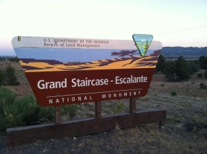 Sign for Grand Staircase-Escalante National Monument | Photo courtesy of Todd Tischler, St. George News