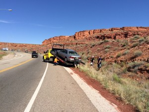Honda Accord ran off road due to drowsy driving|Photo courtesy Jessica Tempfer, St George News.
