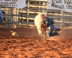"Young cowboy wrangles an animal during the ""Jacob Hamblin Days Ranch Rodeo"", Kanab, Utah, undated 