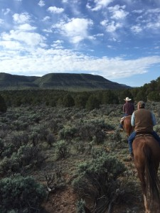 "Participants on a trail ride during the ""Jacob Hamblin Days Ranch Rodeo"", Kanab, Utah, undated 