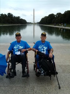 Floyd and Phillip Robison view sit in front of the Washington Monument, District of Columbia, 2014 | Photo courtesy of Dennis Robison, St. George News