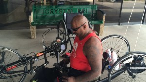 Double amputee and retired Marine veteran Toran Gaal is hand cycling his way across the nation to raise money and awareness, Crystal Inn, Cedar City, Utah, June 9, 2015 | Photo by Carin Miller, St. George News