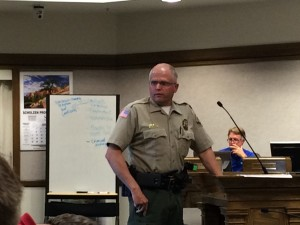 Iron County Sheriff Mark Gower spoke in support of the flight school's position in the community, Council Chambers, Cedar City, Utah, date | Photo by Carin Miller, St. George News
