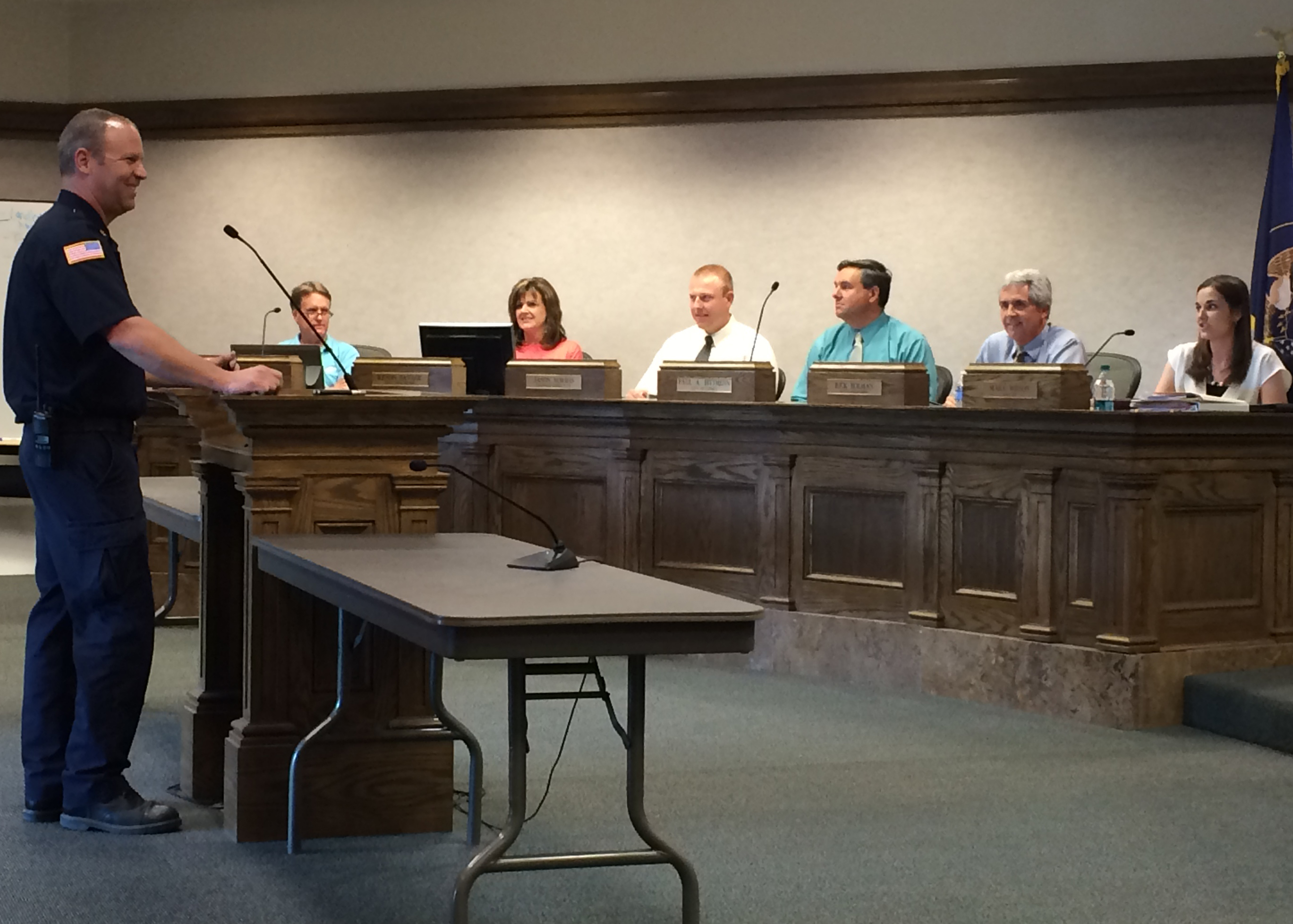 New Cedar City Fire Marshal shares a bit about himself with the crowd, Cedar City Council Chambers, Cedar City, Utah, June 17, 2015 | Photo by Carin Miller, St. George News