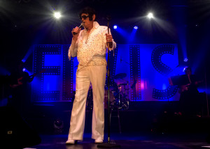 "Claude ""Doc ELvis"" Neilsen does his impersonation of the King at the 2015 Elvis Rocks Mesquite competition, Casablanca, Mesquite, Nevada, June 20, 2015 