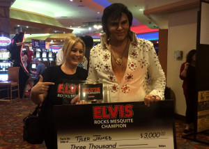 First Place winner Tyler James poses for the cameras with wife Elissa James after the 2015 Elvis Rocks Mesquite competition, Casablanca, Mesquite, Nevada, June 20, 2015 | Photo by Carin Miller, St. George News
