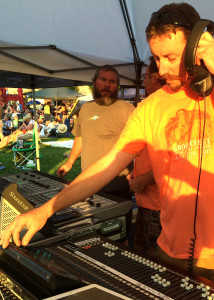 Ryan Kay running the sound at the Groovefest Music and Art Festival, Main Street Park, Cedar City, Utah, June 27, 2015 | Photo by Carin Miller, St. George News