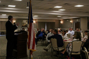 Washington County Republican Party Chairman Robert Jensen speaks to Washington County Republican Women at a luncheon Thursday, St. George, Utah, June 4, 2015 | Photo by Sheldon Demke, St. George News