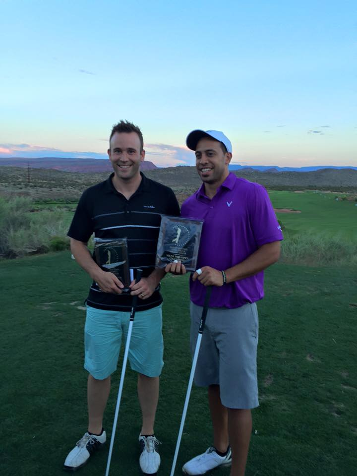 Finalists  Ben Tuaone (right) and Logan Leavitt, Utah Long Drive Championships, Washigton, Utah, Jun. 13, 2015 | Photo by Devin Dixon