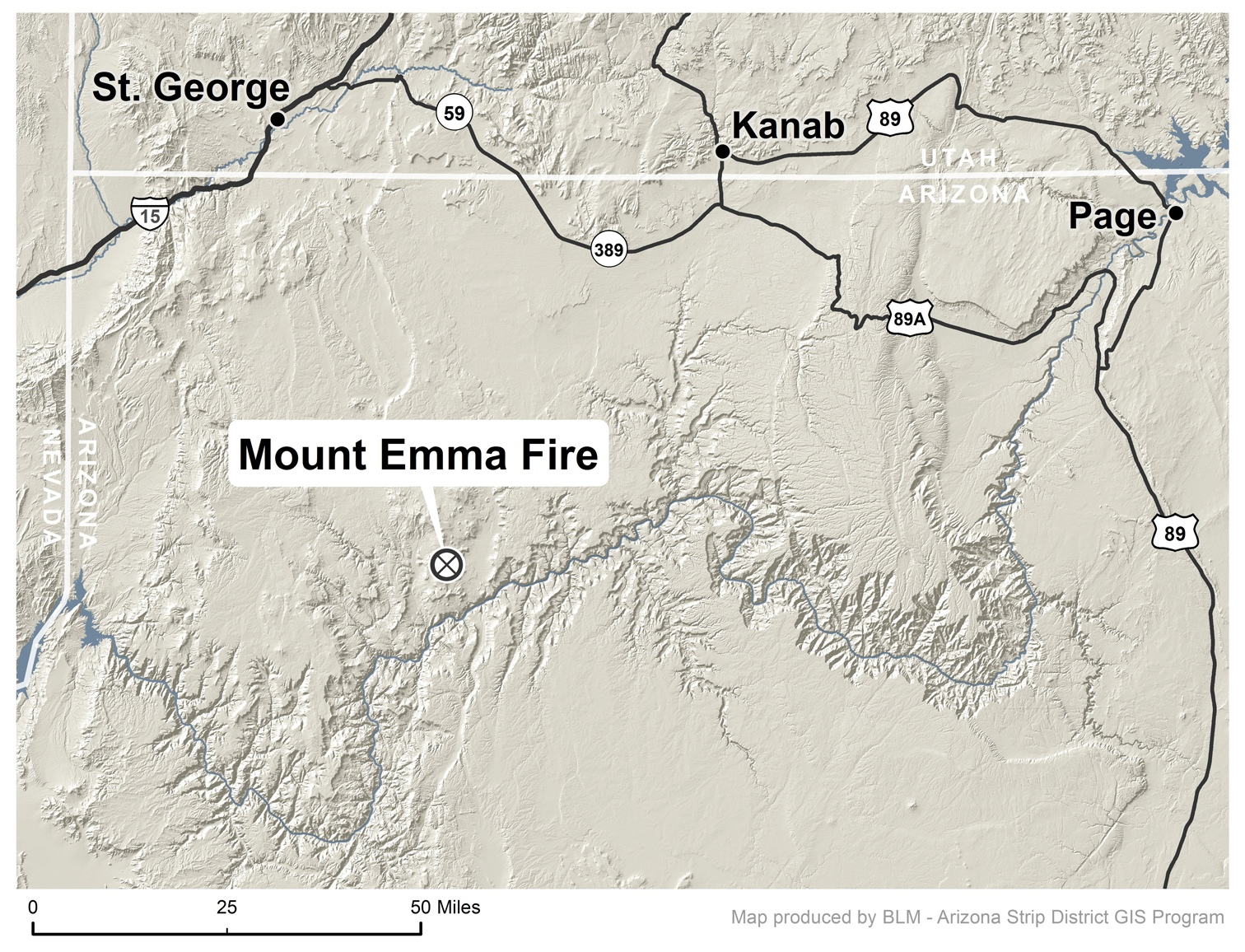 Map Of Arizona Strip.Update Mt Emma Fire Grows From 194 Acres To 3 295 Acres In 3 Days
